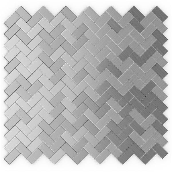 SpeedTiles Earl Grey Metal Peel and Stick Wall Tile - Herringbone Pattern - 12.09-in x 11.65-in - Stainless Steel
