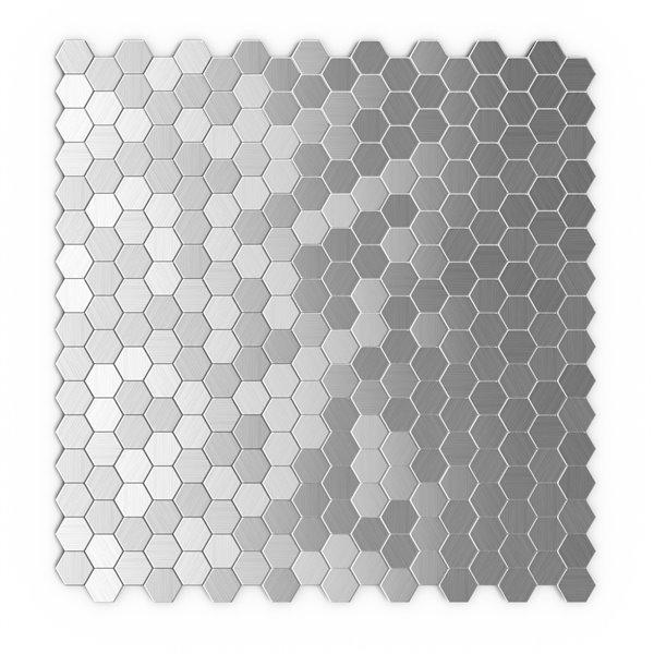 SpeedTiles Hexagonia Metal Peel and Stick Wall Tile - Honeycomb Pattern - 11.46-in x 11.89-in - Stainless Steel