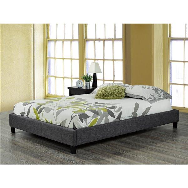 Brassex Modern Single Platform Bed Frame -  Grey