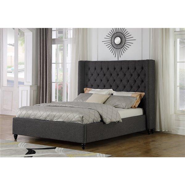 Brassex Marcella King Upholstered Platform Bed -  Grey