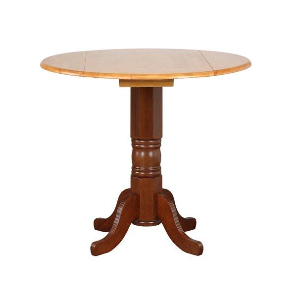 Table ronde en chêne de Sunset Trading, 42 po, brun muscade/chêne clair