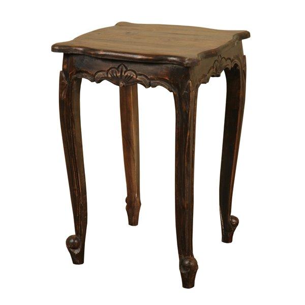 Table d'accent carré en bois Shabby Chic de Sunset Trading, gris