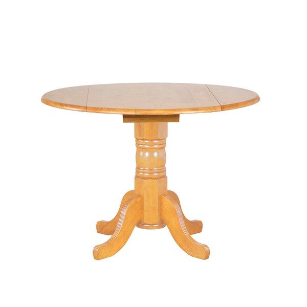 Table à manger ronde en chêne de Sunset Trading, 42 po, chêne clair