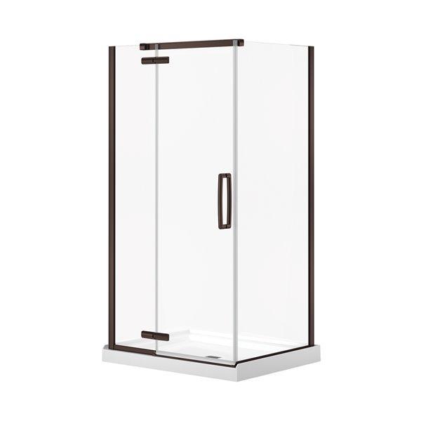 MAAX Hana Neo-Angle Shower Kit with Base - 42-in x 34-in x 78-in - Dark Bronze - 2-Piece