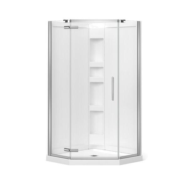 Cabine de douche néo-angle Hana par MAAX avec base et mur, 38 po x 38 po x 78.75 po, chrome, 3 pièces