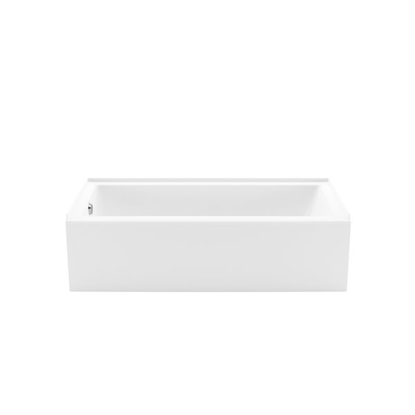 MAAX Bosca Access Alcove Acrylic Bathtub with Left Drain and Anti-Slip Floor - 60-in x 30-in - White