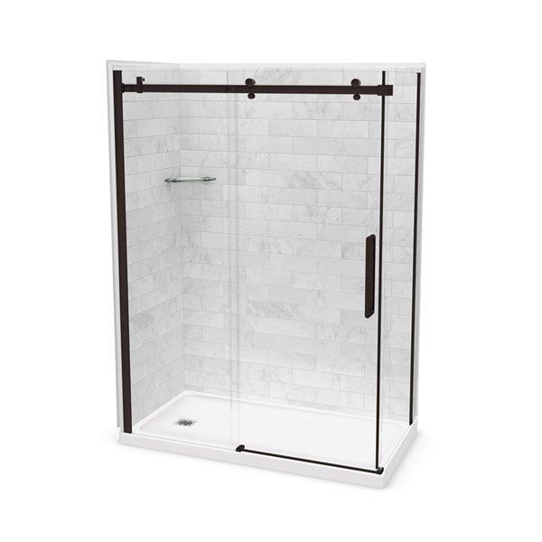 Ens. de douche en coin Utile par MAAX avec drain à gauche, 60 po x 32 po x 84 po, Marbre Carrara/bronze foncé, 5 pièces