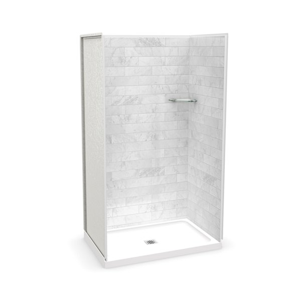 Ens. de douche en alcôve Utile par MAAX avec drain central, 48 po x 32 po, Marbre Carrara, 4 pièces