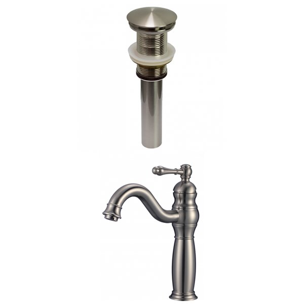 American Imaginations Classic Brushed Nickel 1 Handle Single Hole Bathroom Sink Faucet 7 44 In Ai 29480 Réno Dépôt
