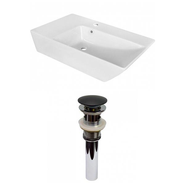 American Imaginations White Vessel Rectangular Bathroom Sink - Black Hardware - 15.5-in - Overflow Included