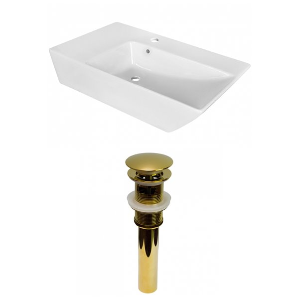 American Imaginations White Vessel Rectangular Bathroom Sink - Gold Hardware - 15.5-in - Overflow Included