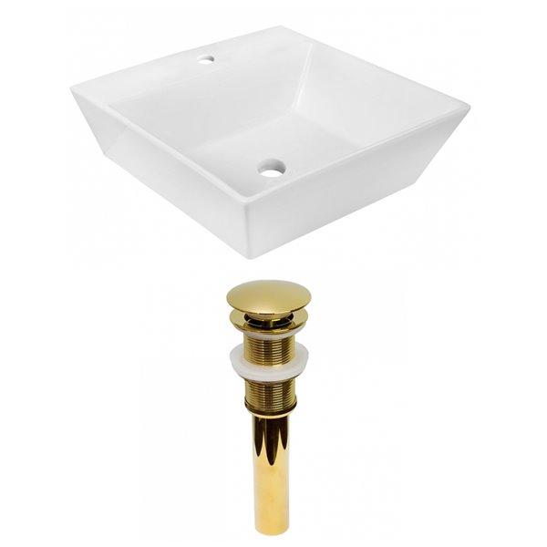 Lavabo de salle de bain vasque carré de American Imaginations, 16,5 po, quincaillerie doréee