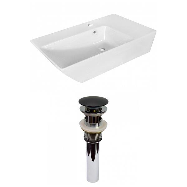 Lavabo tendance de salle de bain vasque rectangulaire de American Imaginations, 15,5 po, quincaillerie noir poli