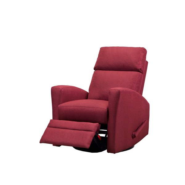 Mazin Industries Luxor Linen Swivel Recliner - Red