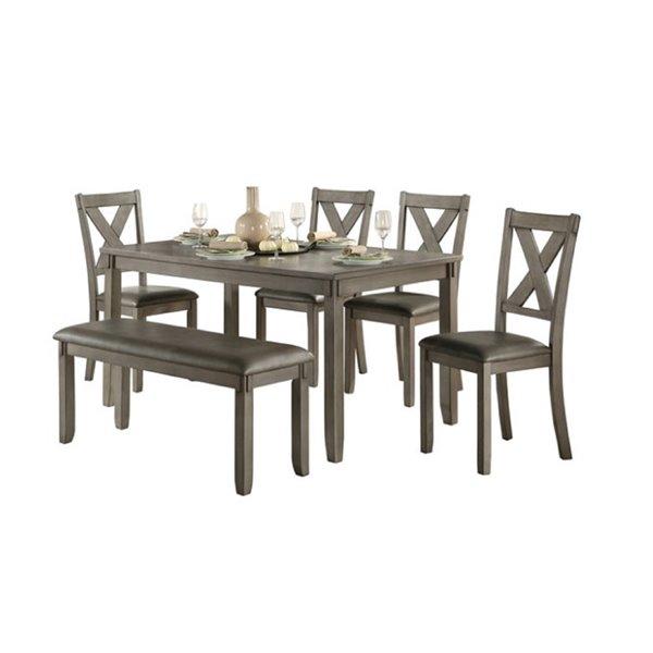 Ensemble de salle à manger Holders de HomeTrend, rectangulaire, gris, 6 pièces