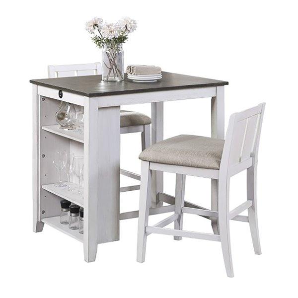 Ensemble de salle à manger Daye de HomeTrend, rectangulaire, blanc, 3 pièces
