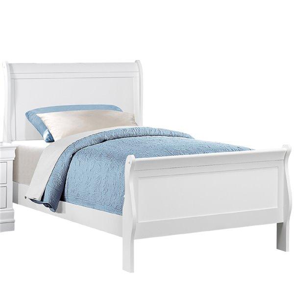 Mazin Industries Mayville Queen-Size White Sleigh Bed