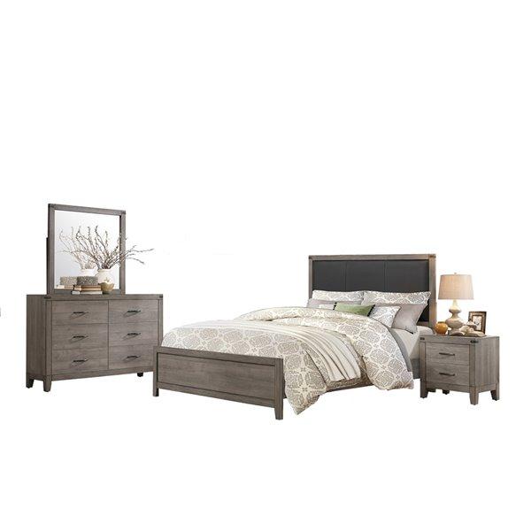 Mazin Woodrow Twin Bedroom Set - 4-Pcs - Gray