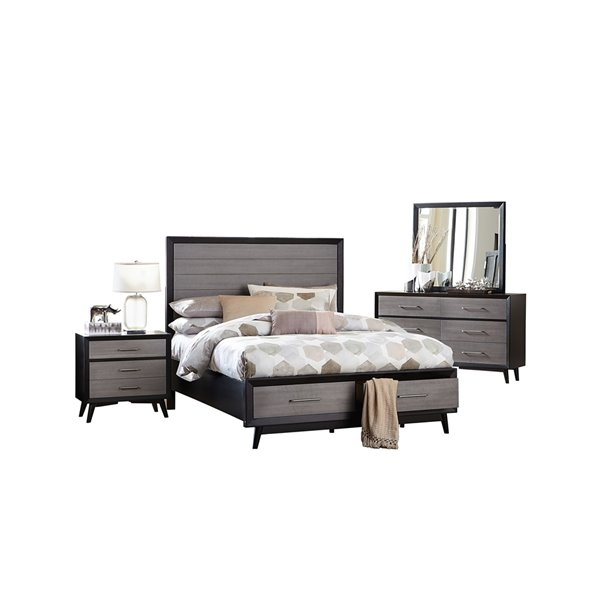 Ensemble de chambre à coucher  grand format avec rangement plate-forme Raky de Mazin, gris, 6 pcs
