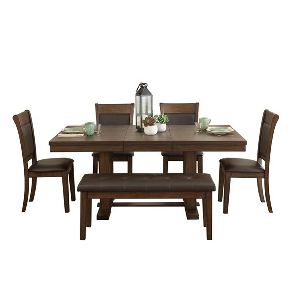Ensemble de salle à manger Wieland de HomeTrend, rectangulaire, marron, 6 pièces