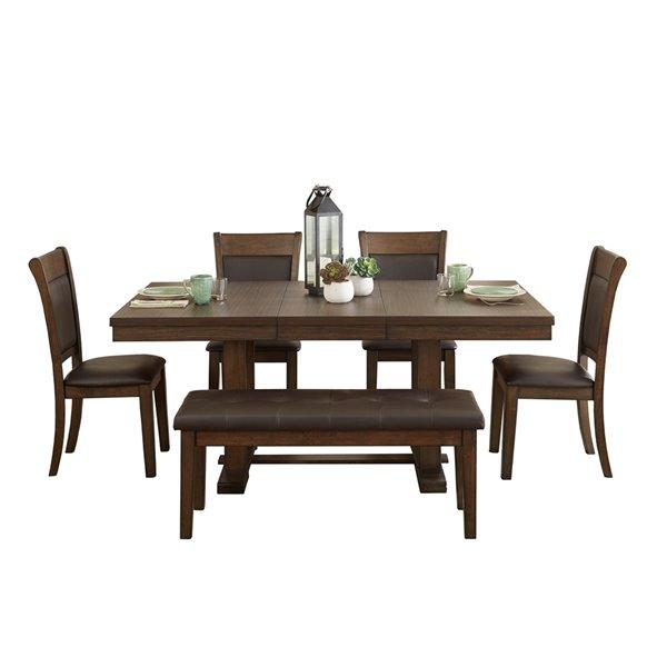 Ensemble de salle à manger Wieland de Mazin Industries, rectangulaire, marron, 7 pièces