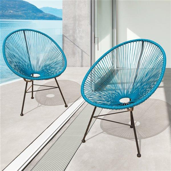 Starsong Hidalgo Wicker Patio Chairs -Peacock - Set of 2