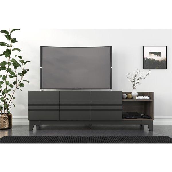 Nexera 402629 Meuble audio-vidéo Influence, 72 po, gris écorce et gris charbon