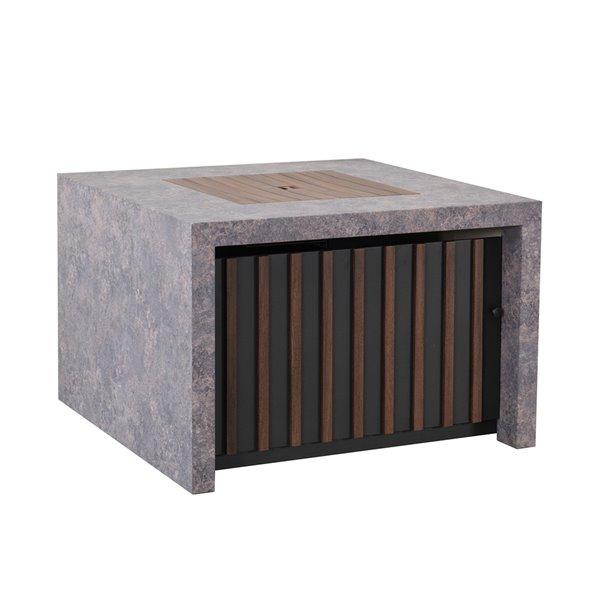 Sunjoy Farnsworth Square Firepit Table - 38-in - 37,000-BTU - Grey