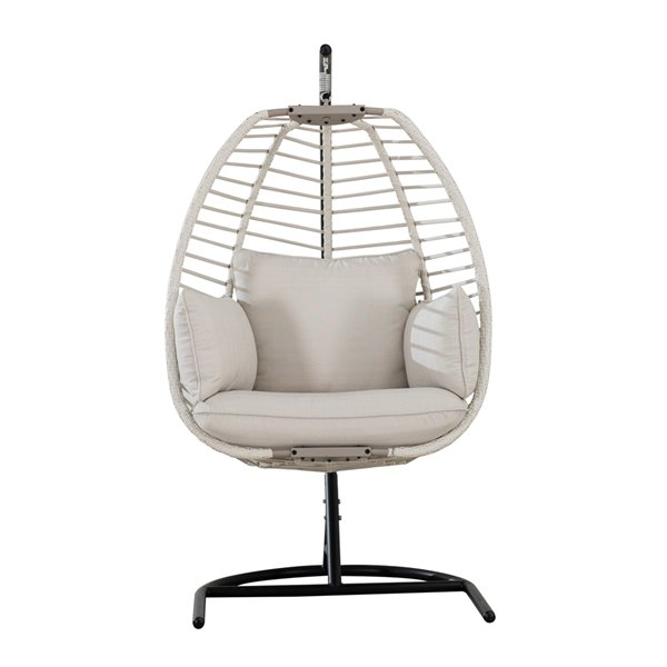 Sunjoy Clyde Hanging Egg Chair with Removable Cushions - Steel - Light Beige
