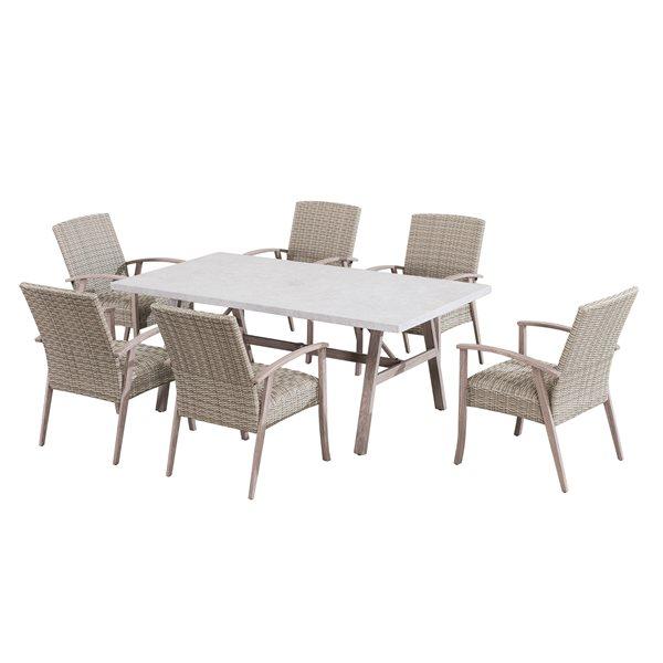 Sunjoy Ralston Patio Dining Set - Khaki Steel - 7-Piece