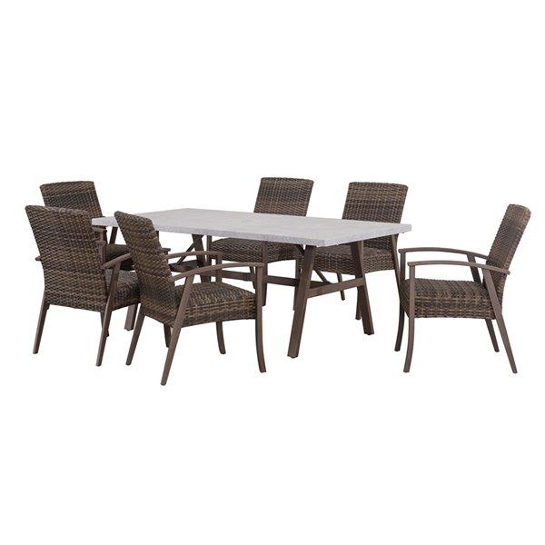 Sunjoy Ralston Patio Dining Set - Brown Steel - 7-Piece