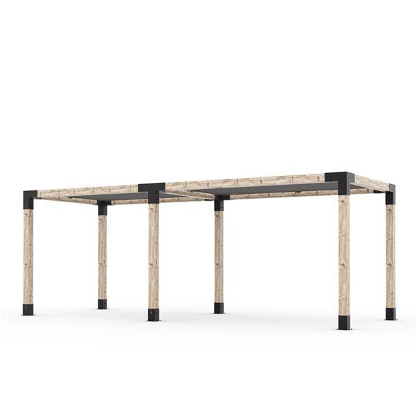 Trousse de pergola double Toja Grid avec 2 voiles d'ombrage pour pôteau de bois 6x6, 8 pi x 22 pi, autoportant