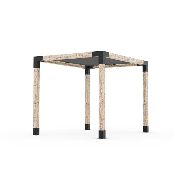 Trousse de pergola Toja Grid avec voile d'ombrage pour pôteau de bois 6x6, 8 pi x 10 pi, autoportant