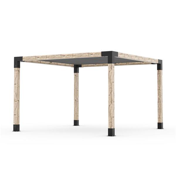Trousse de pergola Toja Grid avec voile d'ombrage pour pôteau de bois 6x6, 12 pi x 12 pi, autoportant
