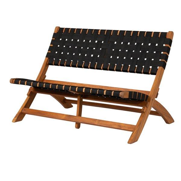 Patioflare Nylon Weave Folding Bench - 42-in x 29-in - Black
