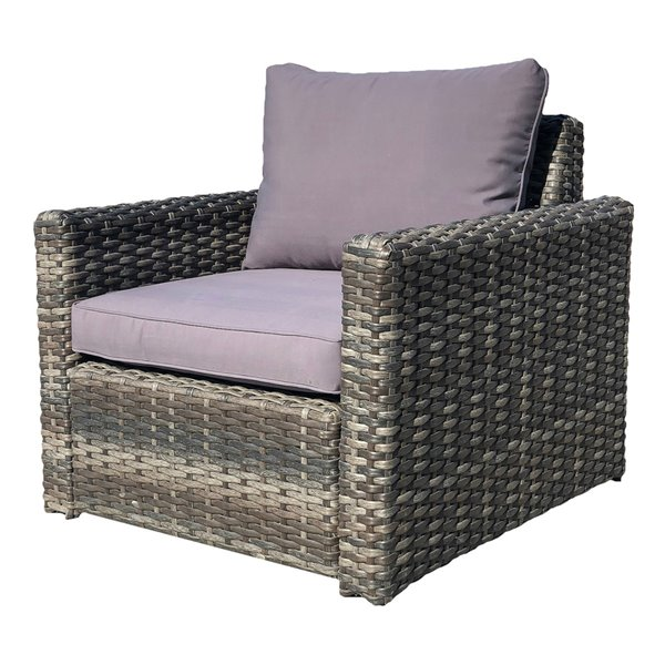 Patioflare Whitney Chair - Gray Wicker & Dark Grey Fabric
