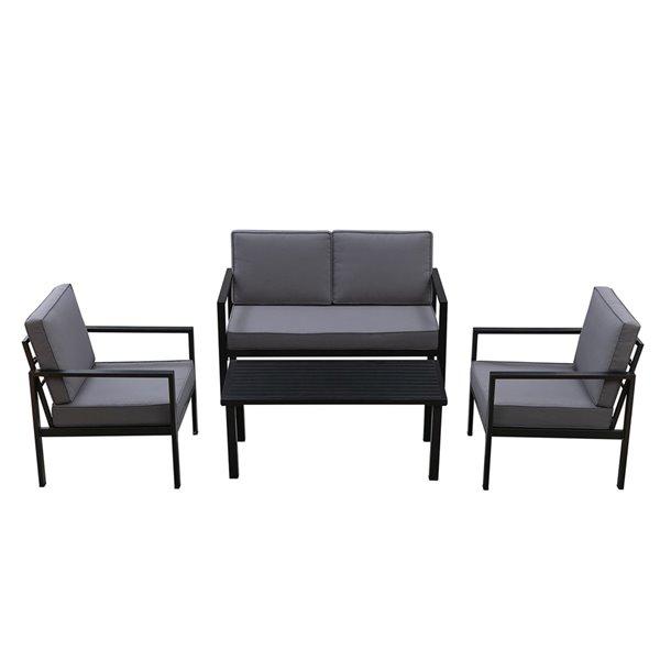 Patioflare Tylor  4-Piece Aluminum Conversation Set - 7 Cushions - Black