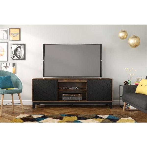 Nexera Hexagon TV Stand - 72-in - Black/Truffle