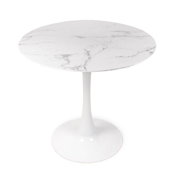 Table de bistro ronde Soho Home, imitation de marbre, blanc, 31,5 po