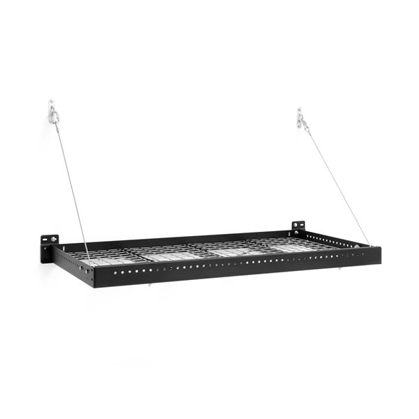 New Age Products Pro Series Wall Mounted Shelf - Steel - 2-ft x 4-ft - Black - Set of 2