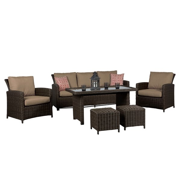 Think Patio Beaumont Patio Conversation Set - Drak Brown Frame with Beige Cushions - 6-Piece