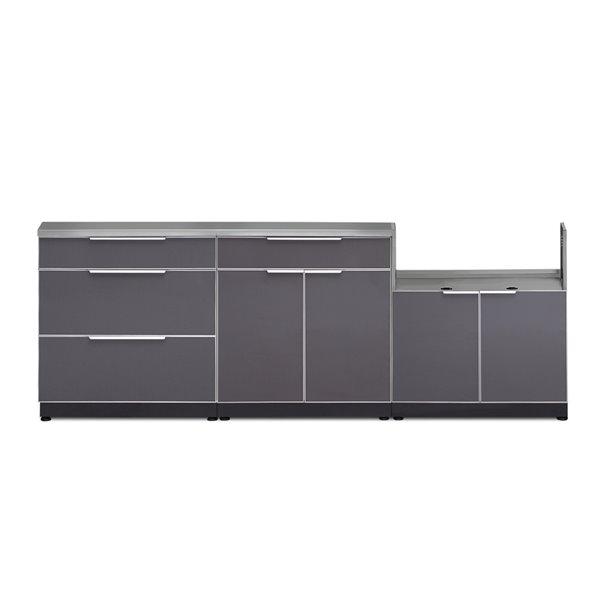 Cuisine extérieure modulaire NewAge Products avec comptoir, 97 po x 36,5 po, gris ardoise, 4 pièces