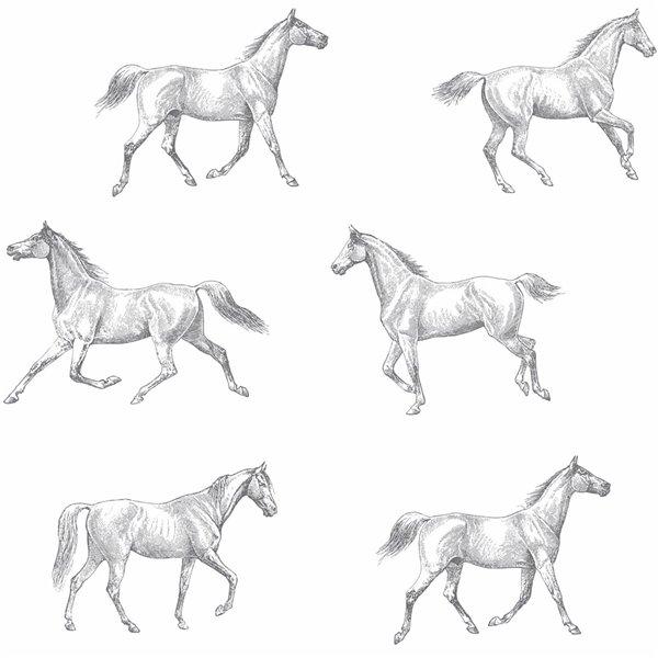 Papier peint Burnett Horses de ESTA Home, blanc cassé