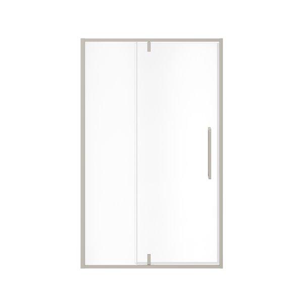 MAAX UpTown Semi-frameless Pivot Shower Door - 76-in x 45-in to 47-in - Brushed Nickel