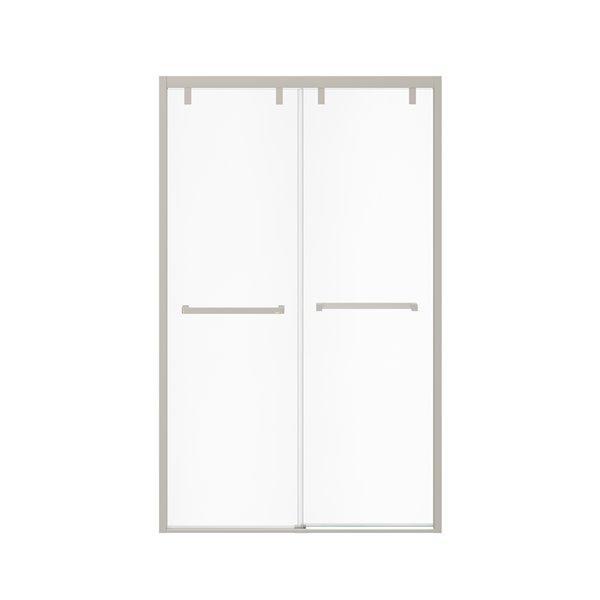 MAAX UpTown Semi-frameless Sliding Shower Door - 76-in x 44-in to 47-in - Brushed Nickel