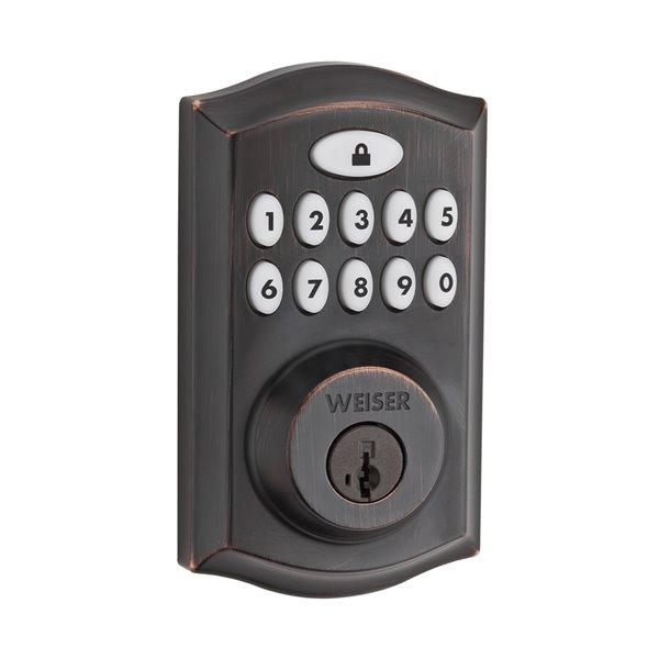 Serrure à écran tactile électronique SmartCode 10 de Weiser, bronze