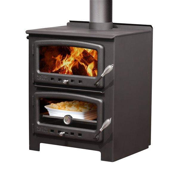 Poêle à bois combustible Nectre N550 - Aire de chauffage de 1000 pi²  - noir