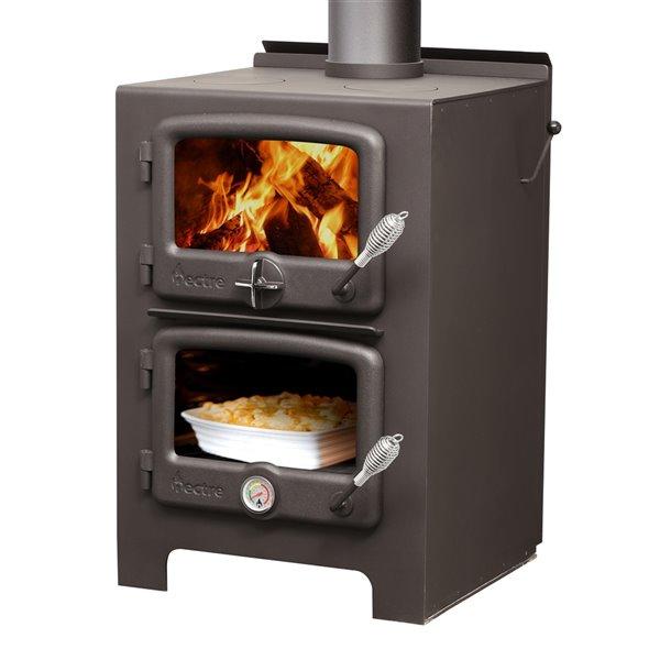Poêle à bois combustible Nectre N350 - Aire de chauffage de 1000 pi²  - noir