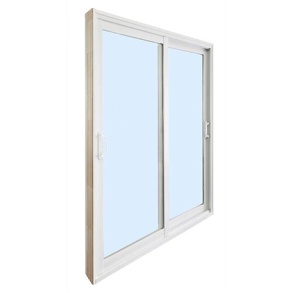 Dusco Doors Tempered Clear Glass Vinyl Double Patio Doors with Screen (Common: 72-in x 80-in; Actual: 71.63-in x 79.63-in)