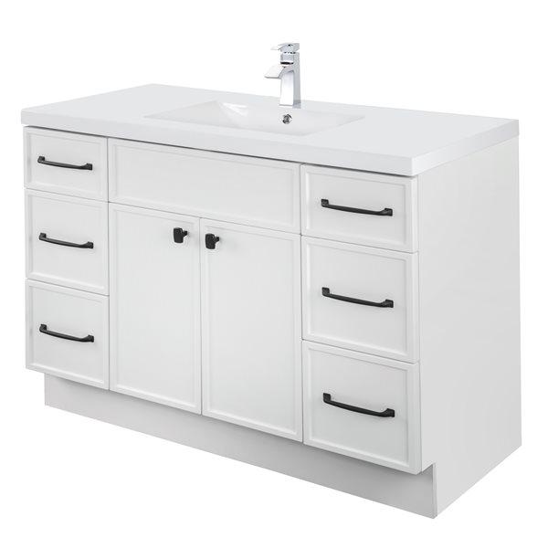 Cutler Kitchen & Bath Manhattan 48-in White Single Sink Bathroom Vanity  With White Acrylic Top MANWHT48SBT Réno-Dépôt